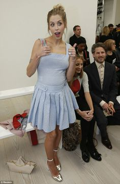 There's nothing mumsy about her style: Peaches Geldof readies her second baby boy in sheer blue pinafore dress at Vivienne Westwood's London Fashion Week show Lilly Allen, Peaches Geldof, Kelly Osbourne, The Vivienne, Just Peachy, Pinafore Dress, Vivienne Westwood, Her Style, How To Wear