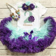 Two cute/Mermaid outfit/Little mermaid/2nd Birthday/Mermaid tutu/Under the sea/Seashell/Second Birthday/Birthday Tutu/Purple Gold