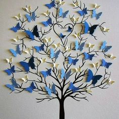 Butterfly tree craft gifts for grandparents Family Tree of Butterflies in YOUR Choice of Colors for Each Generation / Personalized with Fa Kids Crafts, Diy Home Crafts, Arts And Crafts, Wall Decor Crafts, Paper Wall Decor, Tree Crafts, Butterfly Tree, Butterfly Crafts, Butterfly Wall Art