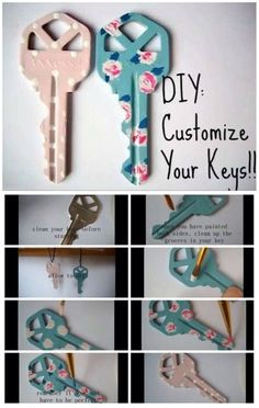 Image about flowers in Diy by meline on We Heart It Discover and share the most beautiful images fro Cute Crafts, Crafts To Make, Arts And Crafts, Key Diy, Paint Keys, Creation Deco, Ideias Diy, Diy Painting, Diy Gifts