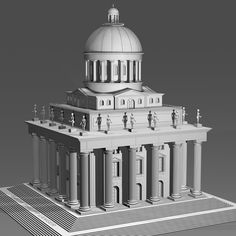 Architecture model of a magnificent, neoclassical building decorated with female nude sculptures. 2016, giclée print. Watermarked preview. #architecture #dome #building #historical #neoclassicism #magnificentbuildings #nudesculptures #model #eclecticism #blackandwhite #columns #stairs #palace #ancientbuildings #sculptures #architectural