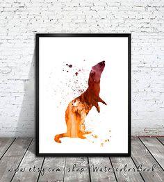 Ferret 2 Watercolor Art Print Ferret art Ferret by WatercolorBook