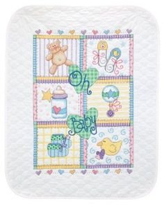 Amazon.com: Dimensions Needlecrafts Stamped Cross Stitch, Baby Squares Quilt: Arts, Crafts & Sewing