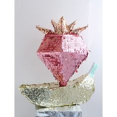 strawberry and banana shimmery piñata