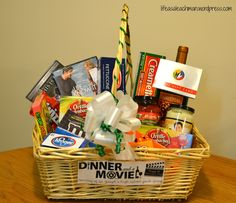 'Dinner & a Movie' gift basket. - Glee May Remax River Cities - 'Dinner & a Movie' gift basket. 'dinner and a movie' gift basket - Date Night Gift Baskets, Movie Basket Gift, Movie Night Gift Basket, Date Night Gifts, Themed Gift Baskets, Wine Gift Baskets, Raffle Baskets, Making A Gift Basket, Dinner And A Movie