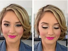 Simple glam trendy make up with hot pink lips
