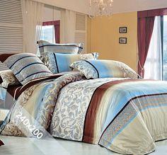 Sofiben dekbedovertrek 'Amara'. Een lits-jumeaux (240x200 cm) dekbedovertrek van 100% katoen satijn, voorzien van een rits om het verwisselen erg gemakkelijk te maken. Het dekbedovertrek is voorzien van een ontwerp in roestbruin, beige en zeeblauw.