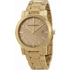 Burberry Light Champagne Dial Light Gold-tone Ladies Watch ($480) ❤ liked on Polyvore featuring jewelry and watches