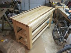 small wood crafts Butcher Block Island A Sure Shot in Pregnancy Prevention birth co Woodworking Tools List, Woodworking Furniture Plans, Woodworking Projects, Kitchen Island With Butcher Block Top, Mobile Kitchen Island, Mobile Home Kitchens, Into The Woods, Bed Plans, Types Of Wood