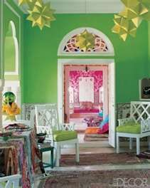 pink and green rooms...love the surprise of pink...gorgeous room