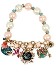Betsey Johnson Gold-Tone Sea Creature Multi-Charm Imitation Pearl Bracelet