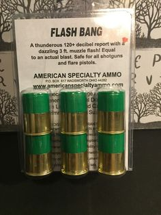 1. 6 pack of 12 gauge blanks  A thunderous 120+ decibel report with a dazzling 3 ft. muzzle flash! Equal to an actual blast. Safe for all shotguns and flare pistols and perimeter alarm systems  6 Rounds