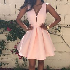 Pink 2016 Summer Ladies Fashion Sexy Backless Deep V-neck Sleeveless A-line Women's Dress Club Evening Party Mini Dresses [Affiliate]