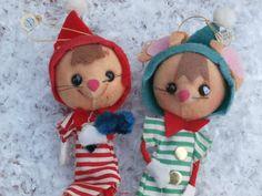2 Vintage Jestia Knee Hugger Pixie Angel Mice, Small Christmas Decorations