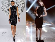 a Versace Fall 2013 black fitted dress with leather studded panels at the shoulders and waist