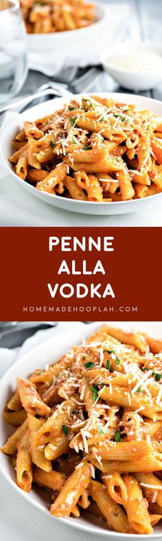 Penne Alla Vodka! Skip the restaurant and have quality vodka sauce at home. This recipe has just enough tomato flavor to give the sauce a kick without overpowering the cream! | HomemadeHooplah.com