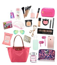 """""""Whats in my purse?"""" by elizabethnutt ❤ liked on Polyvore featuring Moschino, NARS Cosmetics, Longchamp, MAC Cosmetics, Tweezerman, NYX, Chanel, Burberry, Forever 21 and Dove Beach Bag Essentials, Travel Bag Essentials, School Essentials, Packing Tips For Travel, School Checklist, Travel Hacks, What In My Bag, What's In Your Bag, What's In My Backpack"""