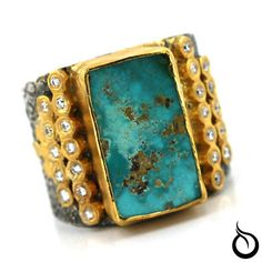 Unique Turquoise Diamond Ring 24K Pure Gold Silver