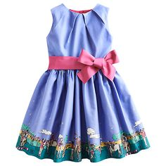 Buy Little Joule Girls' Constance Pony Border Dress, Cornflower Online at johnlewis.com