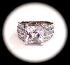 Vintage Princess Square Cut Diamond Estate Jewelry Ring, via Etsy.