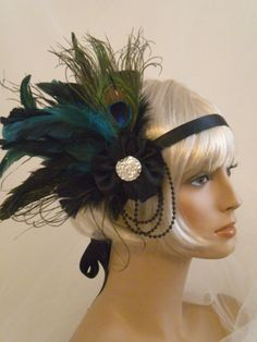 Flapper Headpiece, 1920's Headband, Gatsby, Roaring 20's, Black, Teal, Green, Feathers.  via Etsy.