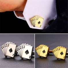 Mens Poker Cufflinks Men's Wedding French Shirt Cuff Buttons 18K  Gold/Platinum Plated Card Gemelos