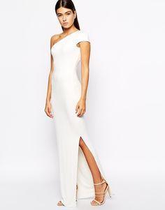$174 Image 1 ofAQ AQ Livia One Shoulder Maxi Dress