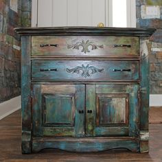 Distressed Paint Vintage Oak Cabinet by PickersDesignCompany