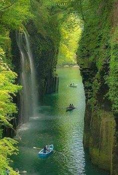 Photo of Manai Falls Fresh green waterfall in Takachiho-chō, miyazaki-ken, Japan Beautiful Waterfalls, Beautiful Landscapes, Places To Travel, Places To See, Landscape Photography, Nature Photography, Japan Travel Photography, Photos Voyages, Nature Pictures