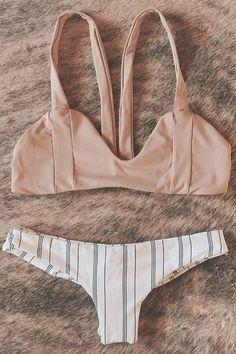 39c288f6b2 Floralkini Pink Bralette Bikini Top X Striped Bikini Bottom