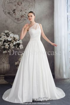 This white wedding dress designed with a-line silhouette. It features one-shoulder neckline and court train style. The transparent strap of one shoulder over the sweetheart lace looks quite special. The whole dress is made of satin, taffeta, lace and organza.