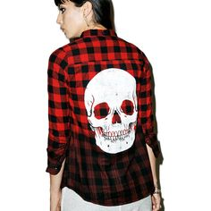Iron Fist Skullz Flannel ($38) ❤ liked on Polyvore featuring tops, dip dye top, button front top, red plaid top, ombre top and flannel top