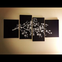 "DIY canvas art. Buy or salvage multiple canvases, spray them a base color then stencil a top color over it, using stencils such as this one, found at cuttingedgestencils.com. Add some teeth hooks to hang them up from Home Depot, do some measuring and there you have it! Mine is 55""x20""."