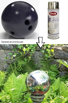 Make your own mirrored gazing ball with spray paint! -- 29 Cool Spray Paint Ideas That Will Save You A Ton Of Money Make your own mirrored gazing ball with spray paint! -- 29 Cool Spray Paint Ideas That Will Save You A Ton Of Money Bowling Ball Crafts, Bowling Ball Art, Bowling Ball Garden, Mosaic Bowling Ball, Diy Spray Paint, Spray Painting, Spray Paint Projects, Metallic Spray Paint, Painting Canvas