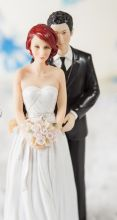 stylish contemporary mix match bride groom cake topper