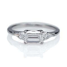 Replica Art Deco Engagement Ring - east/west set emerald cut diamond