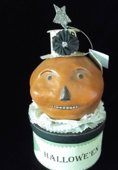 "NICOL SAYRE HALLOWEEN 8 1/2""JACK O LANTERN PUMPKIN BOX  SEASONS OF CANNON FALLS"