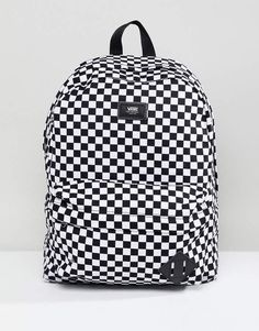 30a12e225cc Shop Vans Old Skool II checkerboard backpack in black at ASOS.