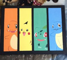 Pokemon - Acrylmalerei - New Ideas Pokemon Decor, Pokemon Room, Pokemon Craft, Pokemon Pokemon, Pikachu, Easy Canvas Painting, Diy Canvas Art, Painting For Kids, Diy Painting