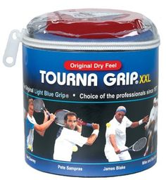 Unique Tourna Grip, XXL, Original Dry Feel Tennis Grips (30/Roll Pack) by Unique. $38.18. Tourna-Grip Original XXL: This is the original overgrip used by professionals including Pete Sampras, James Blake, the Bryan Brothers, Sam Querrey, David Ferrer, John Isner, and many more.  It's used by more pro and college players than all other grips combined.  Why? Because Tourna-Grip actually performs better with moisture when all other overgrips on the market get slippery with moisture.
