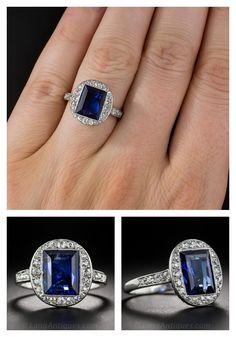 3.50 Carat No-Heat Burma, French Art Deco Sapphire and Diamond Ring $19,750 http://www.langantiques.com/products/item/30-1-5579