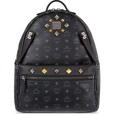 555467624a MCM backpack in black with gold and silver studs