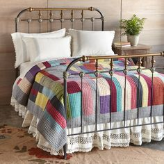 """LALOU PATCHWORK QUILT--This cozy cotton quilt with cotton filling delights with patches of lively color and a luxuriously soft hand feel. Kantha stitched. Each is unique. Imported. Exclusive. Full/Queen, 96""""W x 96""""L"""