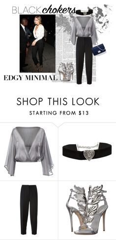 """""""Black chokers-"""" by meglovess on Polyvore featuring moda, Alexander McQueen, Giuseppe Zanotti, women's clothing, women, female, woman, misses, juniors e outfit"""