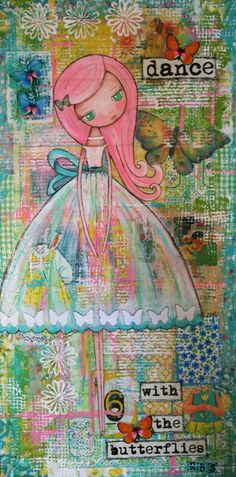 how gorgeous is this from Becca's Dollhouse Art Studio: Patchwork Blooms/Dolly Daydreams - cute colourful and creative :) . Mixed Media Canvas, Mixed Media Collage, Collage Art, Mixed Media Faces, Art Journal Pages, Art Journals, Junk Journal, Mix Media, Doodles