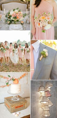 Wedding Themes How To Create A Peach Colour Themed Wedding Using Flowers Bridesmaids Cakes And Decor. 0004 Colour Story: Peaches And Cream. - How To Create A Peach Colour Themed Wedding Using Flowers, Bridesmaids, Cakes And Decor. Peach Wedding Theme, Cream Wedding, Wedding Themes, Wedding Styles, Wedding Decorations, Wedding Ideas, Grey Peach Wedding, Wedding Cakes, Gray Suit Wedding