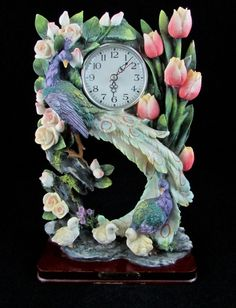 Peacock and Pink Roses Mantle Shelf Table Clock Precious Collections  #peacock #rose #mantle #clock