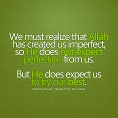 Allah doesn't expect perfection. Our best effort counts.
