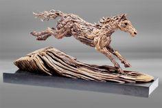 treibholz skulptur moderne-kunst Steeplechase-pferd james doran webb