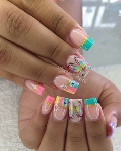 Love Nails, Pretty Nails, Butterfly Nail Art, Stiletto Nails, Manicure And Pedicure, Short Nails, Nails Inspiration, Summer Nails, Maybelline